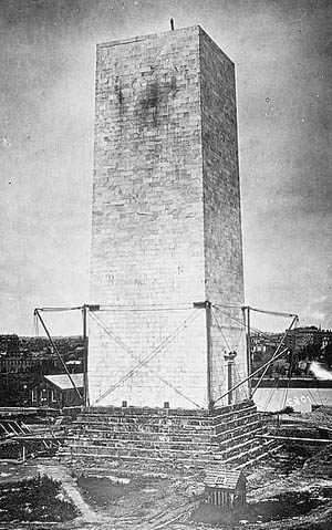 Washington Monument under construction, circa 1862