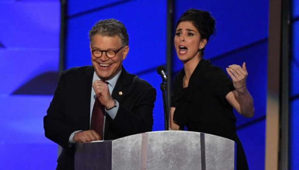 Sarah Silverman Al Franken share unscripted moment of unity at DNC