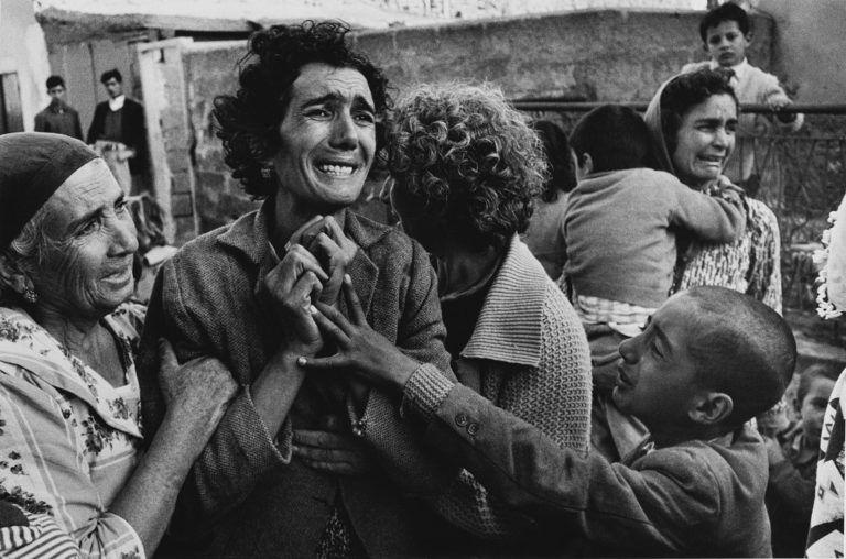 Turkish woman mourning the death of her husband killed by Greek forces during civil war, Limassol, Cyprus, 1964