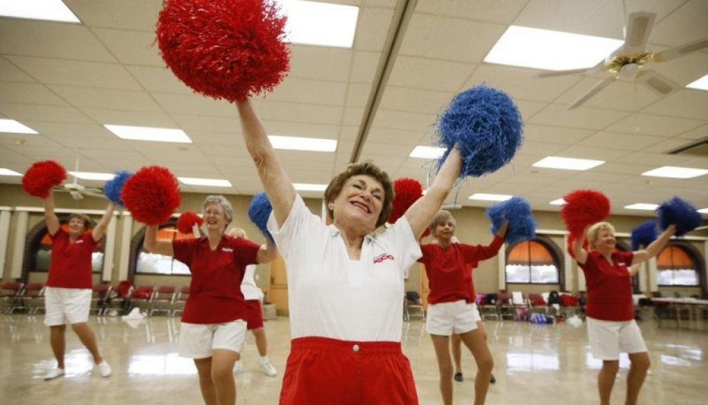 Pat Weber, 81, leads the Sun City Poms cheerleader dancers as they rehearse in Sun City